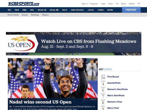 Tennis US Open auf CBS